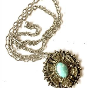 Vintage Crown Turquoise Blue Silver Necklace